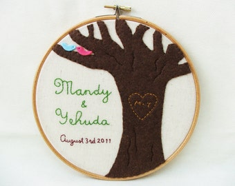 Love tree Embroidery hoop wall art - Customized personalized (names and date) GREAT WEDDING DECOR