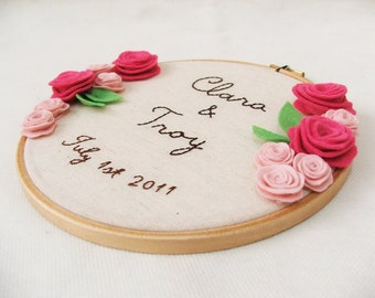 Customized embroidery hoop wall art (names and date) wedding roses GREAT WEDDING DECOR