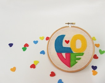 Embroidery hoop wall art ,Valentine's day gift idea , LOVE decoration, great wedding decor, made to orde