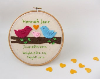 Baby birth announcement Nursery decor Baby birth stats keepsake, personalized embroidery hoop, baby name art, gift idea for new baby