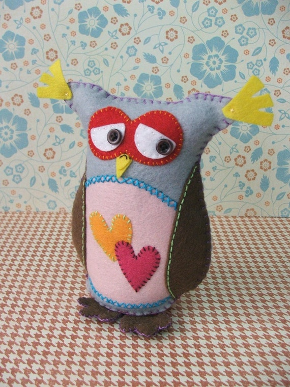 Felt owl -  Theo, the retired carpenter felt owl - Made to order item