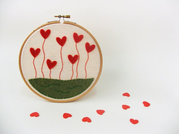 Embroidery hoop wall art - Love blossoms, GREAT WEDDING DECOR - made to order