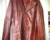 Vintage Leather Jacket - 1970s Mens Dark Orange Brown Suit Coat