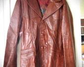 Vintage Leather Jacket - 1970s Mens Dark Orange Brown Suit Coat