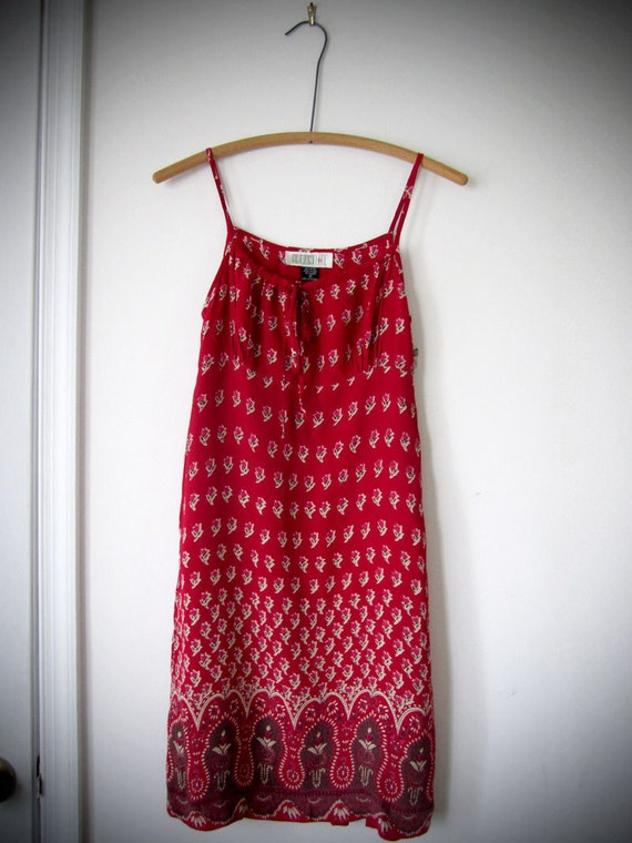 Vintage Summer Dress - Red Print Strap Baby Doll Short Mini