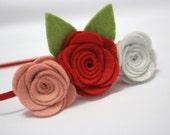 Rose, Red, White Soft Felt Rose Flower Trio Headband
