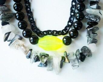 Quartz, Swarovski pearls and black chain necklace