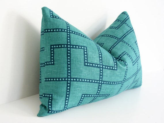 Bleecker Peacock - Celerie Kemble - Designer Pillow Cover FLAWED AS-IS