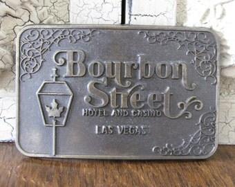 "Vintage ""Bourbon Street"" Las Vegas Belt Buckle"
