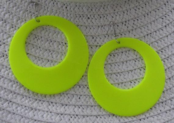 Retro Fluorescent Yellow Earrings