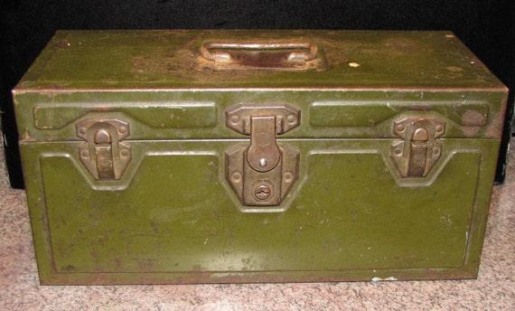 Vintage Industrial Metal Tool Box Circa 1940 s