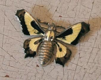 Vintage Butterfly Enamel & Brass Brooch