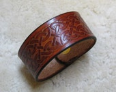 Embossed Leather Celtic Cuff - C2E001 - made to order with Free US Shipping