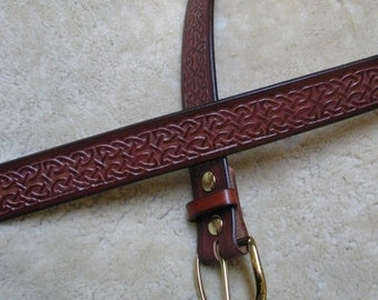 Embossed Leather Belt - B2E001 - Brown Celtic Knotwork with Solid Brass Buckle - Free Shipping in the US