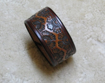 """Hand Tooled Leather Cuff in Tan and Browns - C13025 - """"Flower Garden"""", Free US Shipping"""