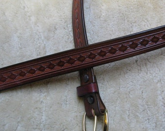 Hand-tooled Leather Belt - B14008 - in Brown with Mahogany Antique - FREE Shipping inside the USA