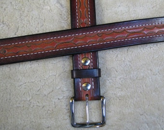 Hand-tooled Heavy Leather Belt - B28590S - Nylon-Stitched - Snap-on Solid Brass buckle.  Ships Free inside the USA