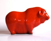 Mid-Century Large Red Ceramic Bull - 60s Ruscha