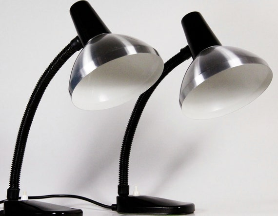 Vintage Set Of Two Dutch Industrial Desk Lamps  - HALA 50s