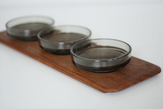 Danish Teak Tray and Glass Inserts- Digsmed
