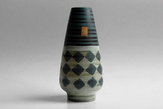 Vintage West German Green Vase with Motif - Dümler&Breiden (Hohr)