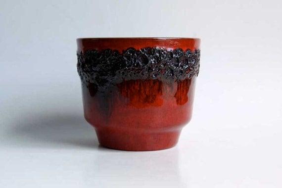 West German Red Lava Planter - Kreutz Keramik 60s
