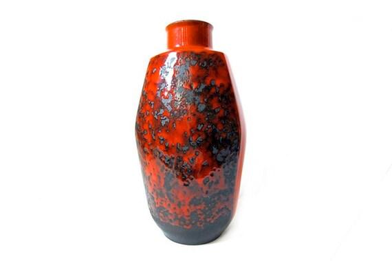 Tall West German Red / Black Fat Lava Vase  - Jopeko 70s