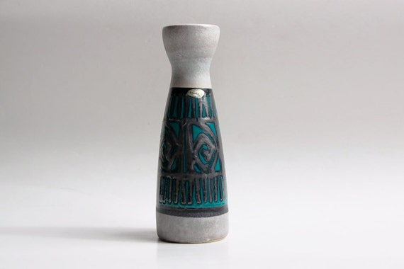Vintage Tall Grey / Blue Vase with a Pattern - Scheurich 60s