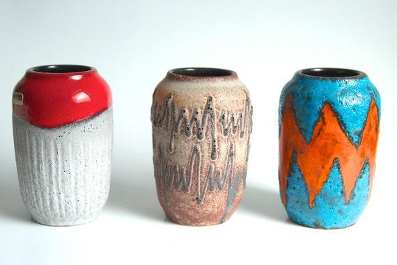 West German Vases - Set of 3 Scheurich