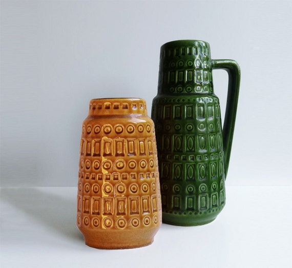 West Germany Vases - Set of 2 (green and yellow)