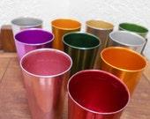 "Atomic Rainbow Aluminum Tumblers ""Bascal"" Italian Mid Century Retro Drinkware Set Of 10 Vintage 40s-50s"