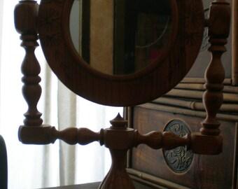 Odd Mirror On Stand Wooden Folk Art Vintage Unique Frame Adjustable Shaving Mirror Neat Primitive Detail