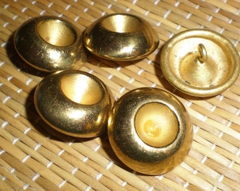 Brass Buttons Old Matched Set Of 5 Vintage Solid Loop Mount - Convex Center