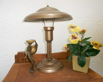 Atomic Lamp Flying Saucer Retro Vintage Mid Century Metal Shaded Industrial Accent Piece