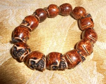"""Skull Bracelet Carved Oxbone/Resin Bracelet """"Day Of The Dead""""  Unisex Elasticized Wrist Band"""
