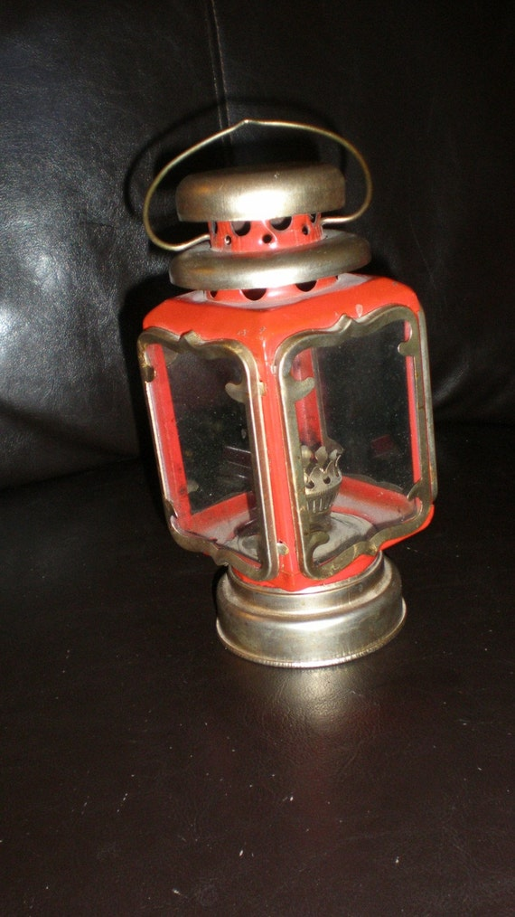 Red Tin Lantern Antique Carriage Type Oil Lamp Fancy Brass