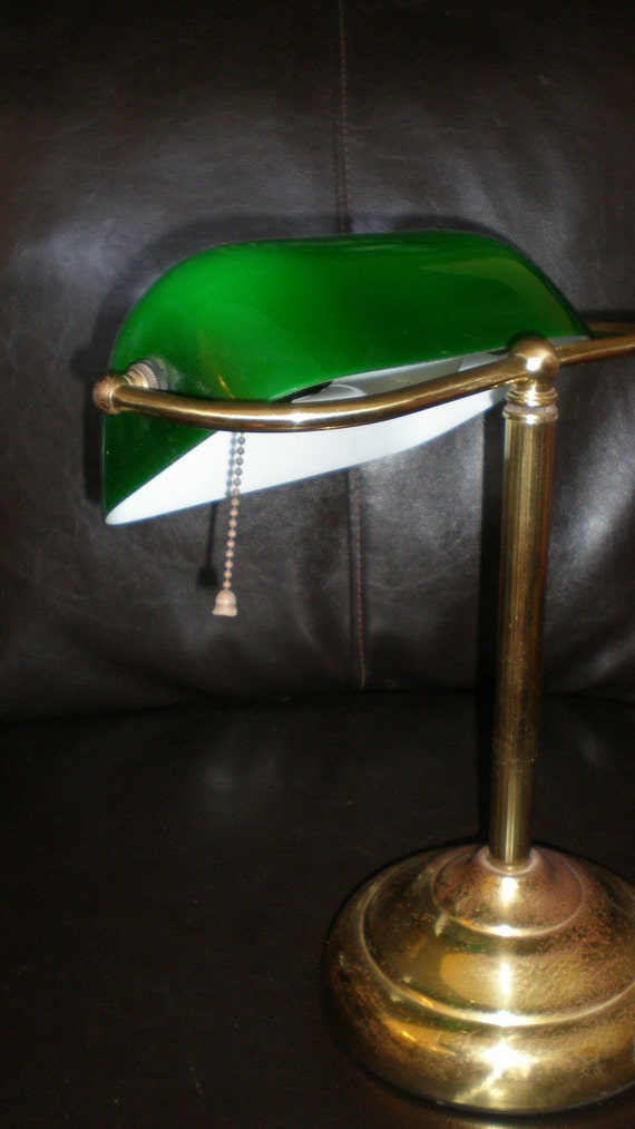 Banker's Lamp Vintage 70s Green cased Glass Shade on Brass Support-Traditional Lighting