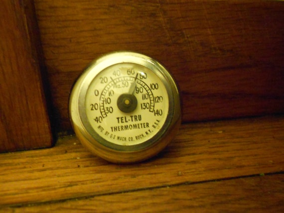 """Rat Rod """"Tel Tru"""" Vintage Auto Dash Thermometer With Suction Cup-Chrome Finish"""