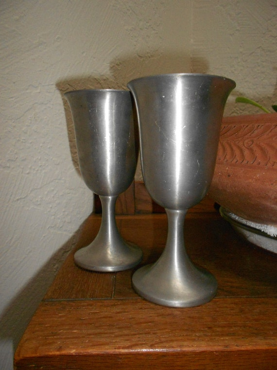Pewter Wine Goblets Vintage And Distressed Pair Perfect For