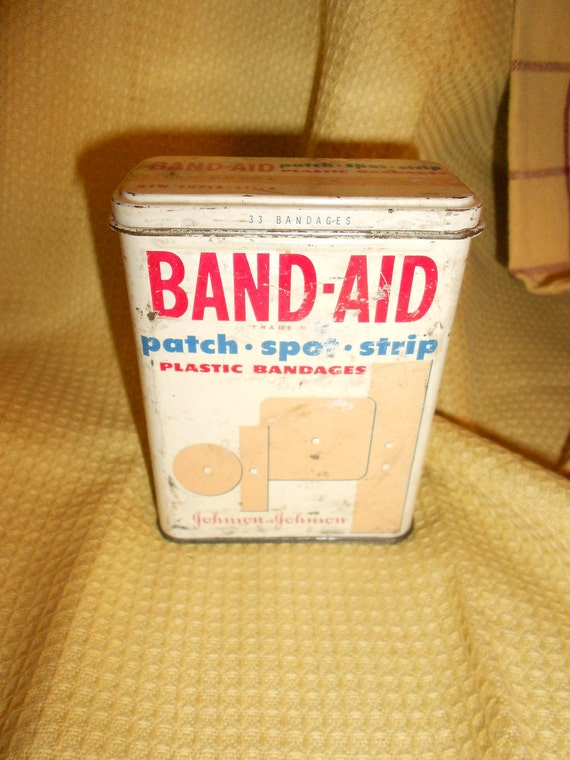 Vintage Band-Aid Tin-Old Patch-Spot-Strip Container - Flesh Color Johnson & Johnson Plastic Strips