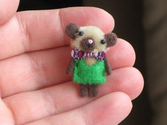 OOAK Tiny Miniature Kawaii Teddy Bear Doll Dollhouse Plush