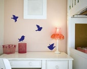 Wall Decal - 4 Birds flying. FREE US Shipping Cute birdies - Nursery decals, playroom or kitchen decals