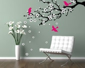 Wall decal cherry branch. Cherry blossom branch. Flowering branch and birds - matte removable vinyl decal