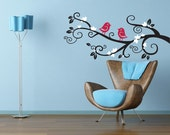 Branch Wall Decal. Flowering branch with two birds in love.  Matte Vinyl Wall Decals 20H x 44W