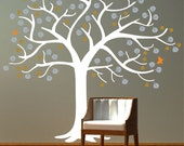 Wall Decal Tree and Butterflies Large Tree Decal - Wall Decals, removable matte vinyl sticker  SKU 15011 Nature Decor