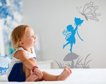 "Fairy wall decal. Girls room decal sticker - Cute little Fairy sticker for wall, Butterfly.  22"" x 16"" FREE US Shipping"