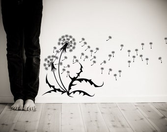"Wall Decal Dandelions, seeds, blowing in the wind. Wall sticker removable matte vinyl 30""x64""  SKU 1507"