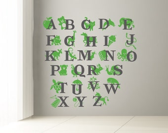 ABC Wall decal. Alphabet decal for kids room. Letters and animals decal sticker for kids room or nursery 2 colors