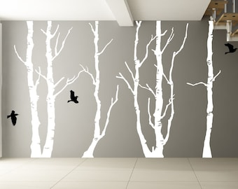 """Large Trees Vinyl Wall Decal - White Forest decal and birds. Design measures 96"""" x 145"""""""