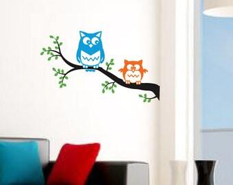"Owl wall decal - cute OWLS on a tree branch. Birds nursery decal, kids room owl decal sticker - 23.5""x14"""